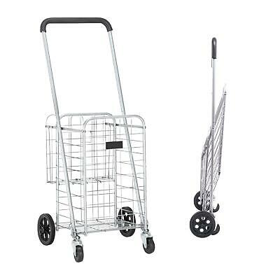 Portable Foldable Shopping Cart Utility Trolley Grocery Laundry Travel Silver