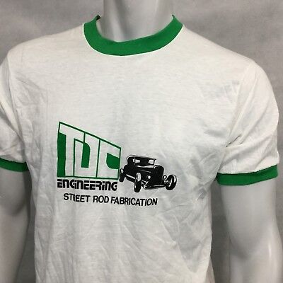Vintage Street Rod Fabrication Ringer T Shirt Sz L Screen Stars Made USA    for sale  Shipping to India