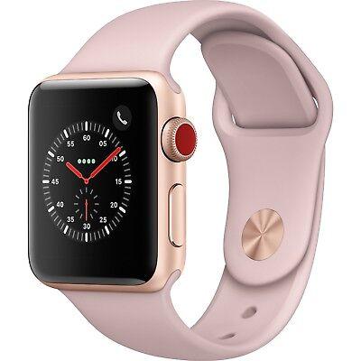 Apple Watch 38mm Series 3 Gold Aluminum Pink Sand Sport GPS Cellular MQJQ2LL/A