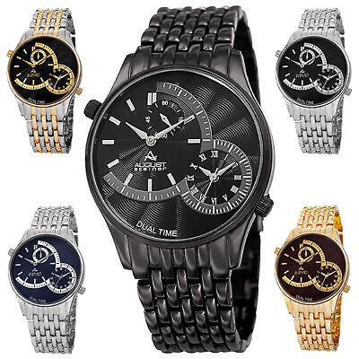 - Men's August Steiner AS8141 Quartz Dual Time Stamped Dial Metal Bracelet Watch