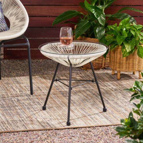 Novia Outdoor Modern Faux Rattan Side Table with Tempered Glass Top Home & Garden