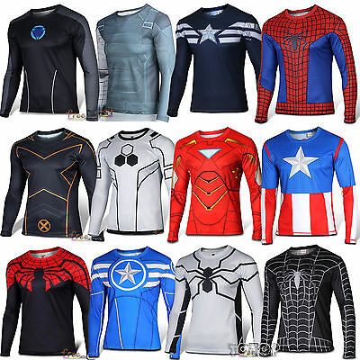 Herren Langarm T-Shirts Marvel Superheld Spiderman Deadpool Shirt Oberteil Tops