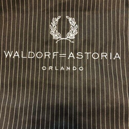Waldorf Astoria Hotel Orlando Florida Black & White Striped Bib Apron
