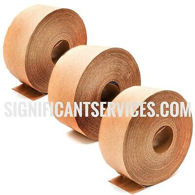New Brown Kraft Paper Gummed Tape 70 Mm X 500 Reinforced Water Activated 3 Roll