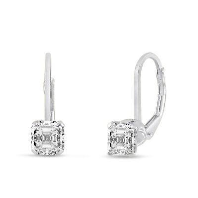 Asscher Cut 5x5mm Clear White CZ .925 Sterling Silver Leverback Earrings