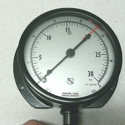 New Vintage Ashcroft Gauge 1010a 4-12 14 30 Psi 70 Ft Water Steampunk