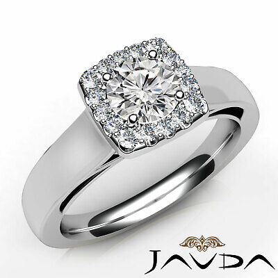 French Pave Set Halo Round Cut Diamond Engagement Filigree Ring GIA I SI1 0.92Ct