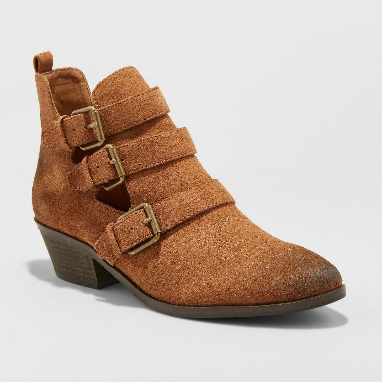 Women's KelseyTriple Buckle Western Bootie – Universal Thread (Cognac 11) Boots