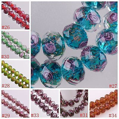 12x8mm Lampwork Glass Round Faceted Charms Loose Spacer Beads Jewelry Findings