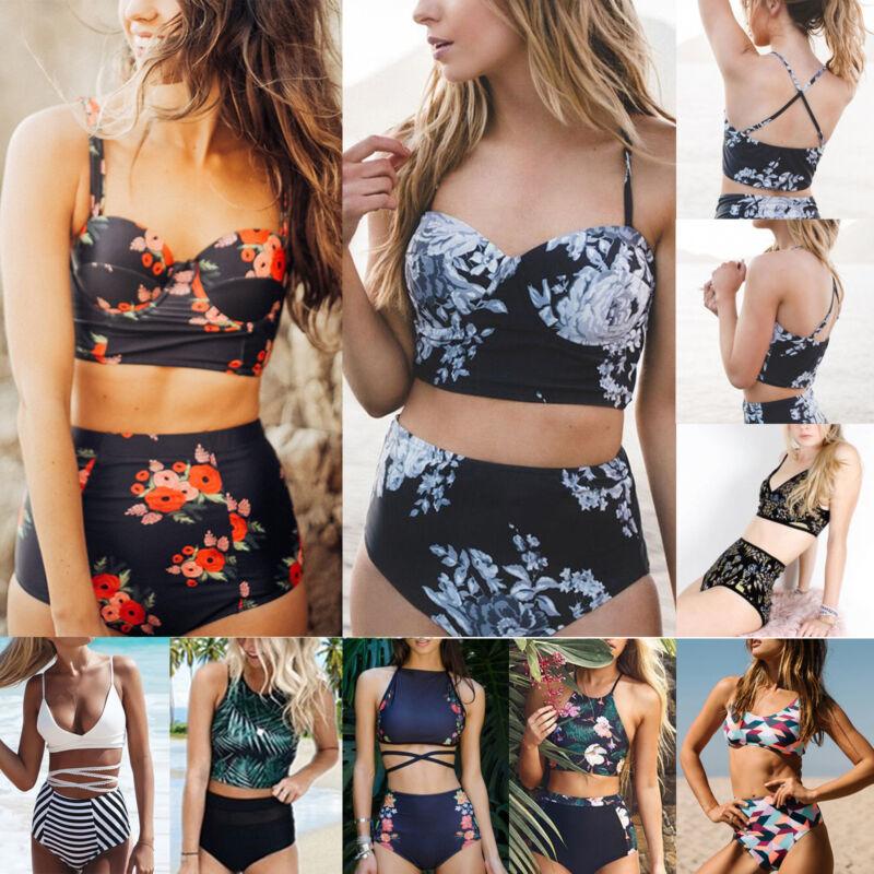 Damen High Waist Bikini Set Push Up Gepolstert Bademode Badeanzug Schwimmanzug D