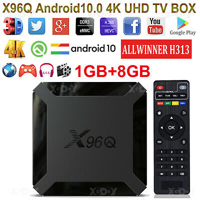 X96Q Android 10.0 OS Smart TV BOX Quad Core WIFI 4K UHD Media Streamer ALLWINNER