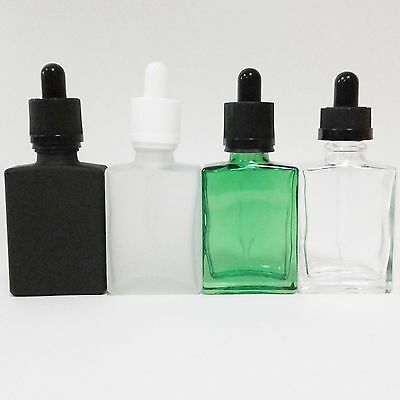 30Ml Flat Square Colored Glass Bottle   Us Seller