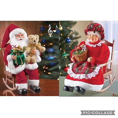"15"" Musical Rocking Mr. & Mrs. Santa Claus Set Plays 17 Christmas Songs"