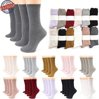 Women's 4 Pairs Lightweight Cable Knitted Cotton Casual Crew Socks Size 9-11
