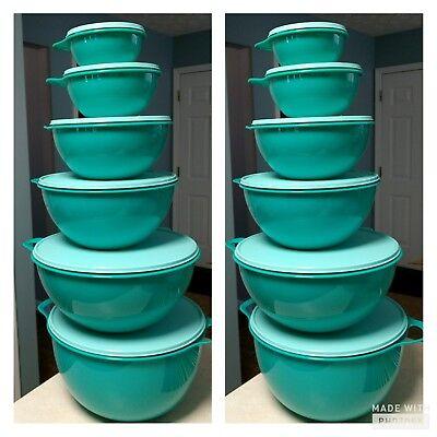 Tupperware Thatsa Bowl 12Pc Set Brand New color Teal FREE SHIPPING!!