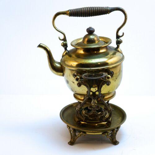 Antique S. Sternau & Co Brass Tipping Spirit Tea Kettle & Burner / Warmer 1896