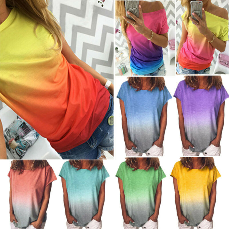 Plus Size Women Summer Short Sleeve Gradient Casual Beach T