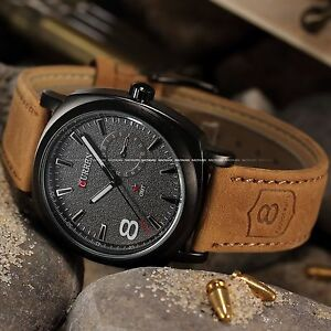 CURREN-Mens-Watches-Sport-Men-Military-Leather-Strap-Quartz-Watch