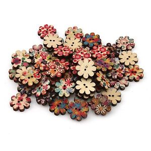 100pcs Bulk Plum flower Shape Painting Wooden Sewing Buttons Scrapbooking 2 Hole