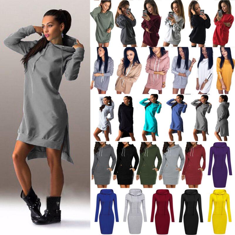 Damen Kapuze Kleider Kapuzenpullover Hoodie Sweatshirt Minikleid Tunika Langtops