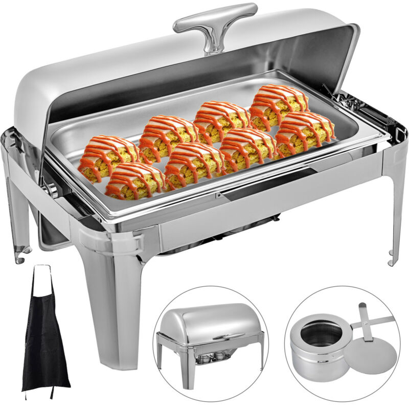 8 QT Chafer Catering Chafing Dish Roll Top Rectangular Full Size Stainless Steel