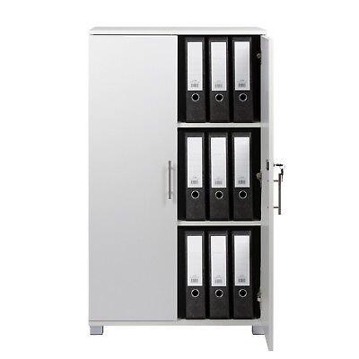 Mmt White Storage Cupboard 2 Door Locking Bookcase Shelving Filing