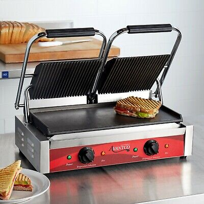 Double Grooved Top Smooth Bottom Electric Commercial Panini Sandwich Grill 120v