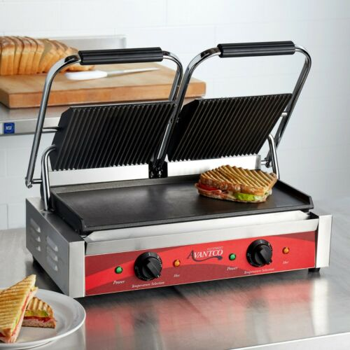 Double Grooved Top Smooth Bottom Electric Commercial Panini Sandwich Grill, 120V