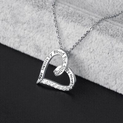 Jewelry Womens Charm Heart Pendant Engrave Diamond Necklace Pretty Chain Gift -