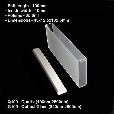 Azzota 100mm Pathlength Quartz Cuvettes - 35ml