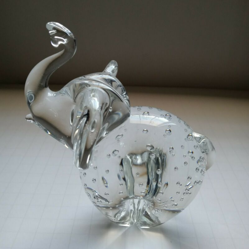Art Glass Glass Elephant. Bullicante. Paperweight