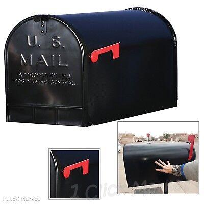 Large Mailbox Oversize Roadside Post Mount Mail Street Postal Box Steel Black