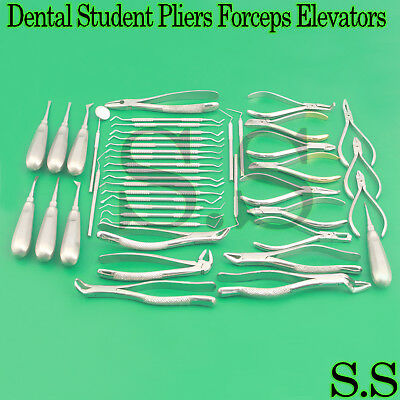 Dental Student Examination Pliers Forceps Elevators Curettes Probes Set Of 50