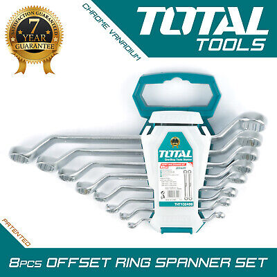 Offset Ring Wrench Set (COMBINATION SPANNER WRENCH SET 8PC Hand Heavy Duty Offset Ring End - Total Tools)