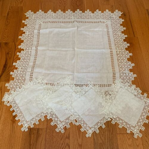 Exquisite Antique Victorian Drawn Needle Lace Tablecloth & Napkins RARE! OLD!