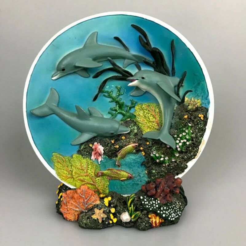 Dolphin Statue Plate Coral Reef Stand Marine Decoration Ocean Decor 3D Figurine