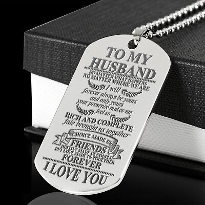 To My Husband Fate Brought Us Dog Tag Graduation Anniversary Birthday Gift