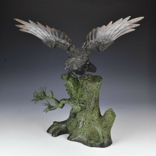 Large Signed Japanese Meiji Period Bronze Statue Bird on Pine Tree Stump