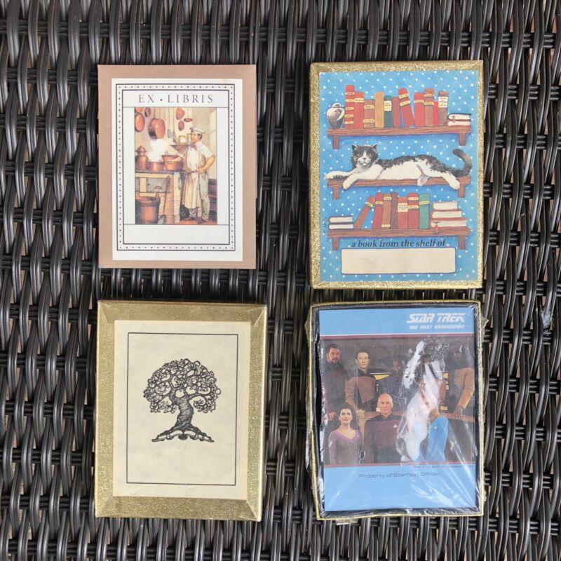 Antioch Bookplate Company Bookplate Lot Star Trek Cats Trees Ex Libris Italy