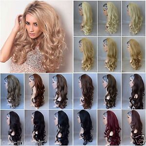 24-Long-Loose-Curl-Curly-Half-Head-Wig-Fall-3-4-Weave-Hair-Piece-Superior-Qual