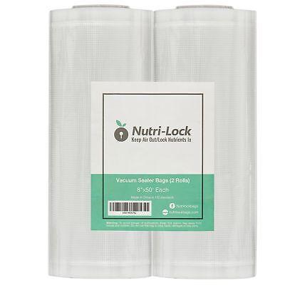 "Vacuum Sealer Bags / Rolls. 2 Pack 8""x50'. Foodsaver Style S"