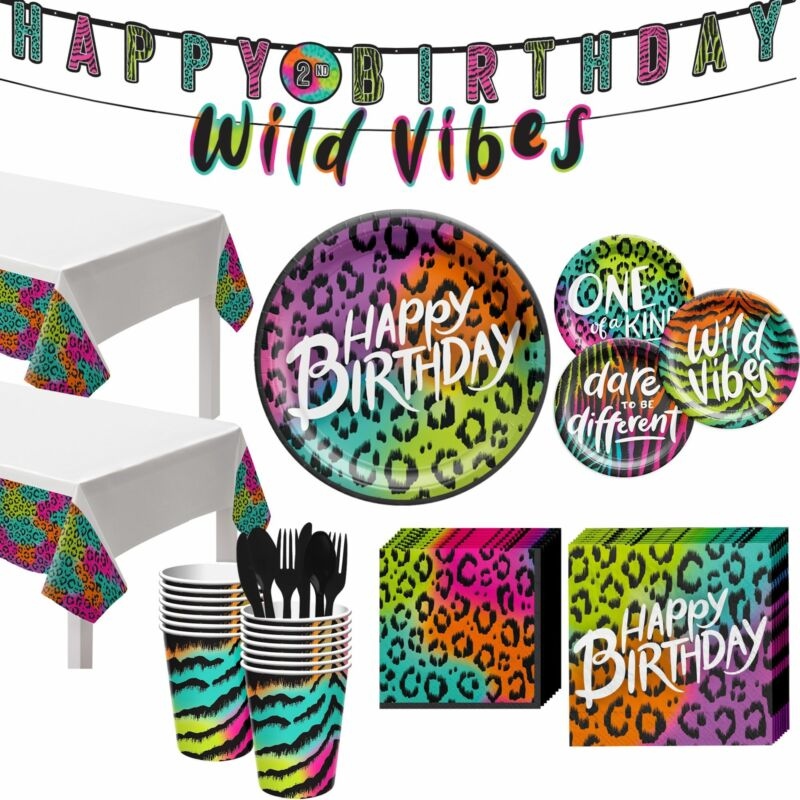 Party City Wild Child Birthday Tableware, Neon and Leopard Print Plates,