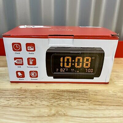 Dreamsky Alarm Clock Radio FM USB Temperature Dimmer Model DS206AW Black NEW