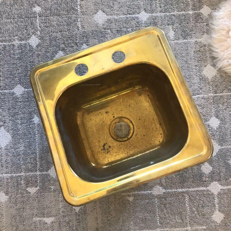 """Vintage Brass Bar Sink Antique Top Mount Kitchen Bathroom15"""" by 15"""""""