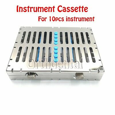 1 Pcs Stainless Steel Dental Sterilization Cassette Box Tray For 10 Instruments