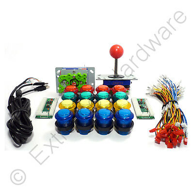 2 Player Arcade Control Kit - 2 Ball Top Joysticks, 16 LED...