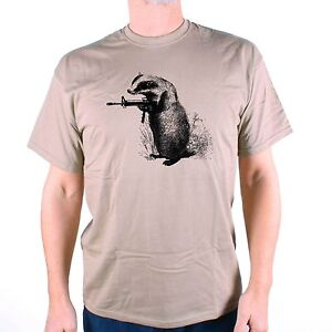 BADGER T SHIRT - BADGERS SHOOT BACK AN OLD SKOOL HOOLIGANS DESIGNER ORIGINAL !