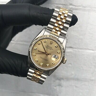 Gents Rolex Datejust in Stainless Steel & 18ct Gold with Champagne Diamond Dial.