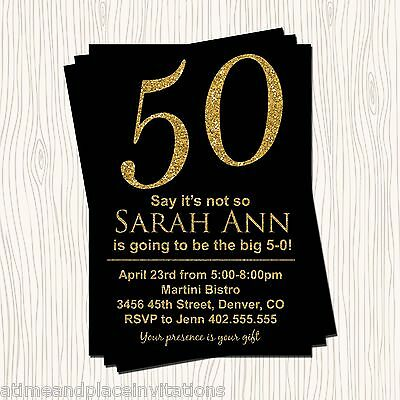 Faux Gold Glitter Black 30th 40th 50th 60th Birthday Party Invitation  Any Color (50th Birthday Party Invitations)