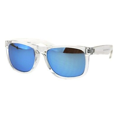 Unisex Summer Sunglasses Square Clear/Frost Frame Mirrored Lens UV (Clear Frame Mirrored Sunglasses)